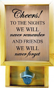 Wooden Shadow Box Bottle Cap Holder 23cm x 38cm with Bottle Opener - Cheers To The Nights We Will Never Remember
