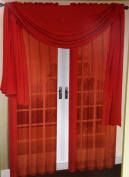 LuxuryDiscounts Beautiful Elegant Solid Red Sheer Scarf Valance Topper 90cm X 550cm Long Window Treatment Scarves