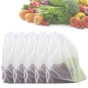 Zicome Set of 5 Strong Washable Fine Mesh Reusable Produce Bags - Fit for Shopping and Storage