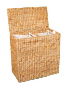 BirdRock Home Water Hyacinth Laundry Hamper with Divided Interior and Removable Cotton Liners