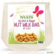 Large Nut Milk Bag Reusable Strainer - 30cm x 30cm Almond Milk Hemp Bags Made From Food Grade Fine Nylon Mesh Strainer - White