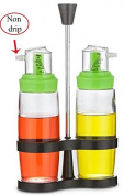 NON-DRIP Oil and Vinegar Bottle Jar Rack Set with Measured Top Glass, 2Pcs, 300ml-10 Oz.