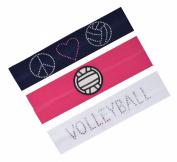 (Set of 3) Volleyball Fan Cotton Stretch Rhinestone Patch Headbands