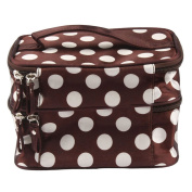 Sijueam® Travel Hangbag with Mirror for Women - Double Layer Cosmetic Organiser Bag Makeup Pouch Toiletry Purse Organiser for travelling , Zipper Closure , Multiple Compartments - Brown & White