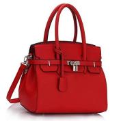 Womens Designer Faux Leather Plain and Ostrich PadLock Tote Shoulder Bags Handbags Sale