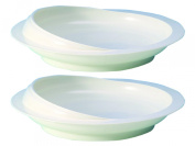 White Scoop Dish with Suction Cup Base x 2