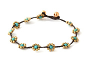 MGD, Blue Turquoise Colour Bead and Brass Bell Anklet. Beautiful Handmade Brass Flower Anklet. Small Anklets. Ankle Bracelet. Fashion Jewellery for Women, Teens and Girls, JB-0247A