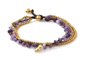 MGD, Purple Amethyst Colour Bead and Brass Bell Anklet. 3-strand Elephant Anklets Beautiful Handmade Brass Anklet. Small Anklets. Ankle Bracelet. Fashion Jewellery for Women, Teens Girls, JB-0274A