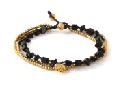 MGD, Black Onyx Colour Bead and Brass Bell Anklet. 3-strand Elephant Anklets Beautiful Handmade Brass Anklet. Small Anklets. Ankle Bracelet. Fashion Jewellery for Women, Teens and Girls, JB-0273A
