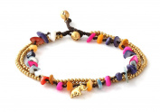 MGD, Colourful Dyed Shell Colour Bead and Brass Bell Anklet. 3-strand Elephant Anklets Beautiful Handmade Brass Anklet. Small Anklets. Ankle Bracelet. Fashion Jewellery for Women, Teens Girls, JB-0282A