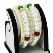 Zewar Women's Pearl Bangle Set Bollywood Designer Handmade Natural Look Beauty Jewellery Yellow