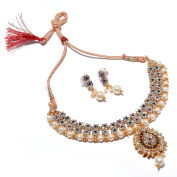 Zewar Women's Multi AD Necklace Set Bridal Kundan Polki Jadau Handmade Jewellery White