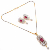 Zewar Women's Ruby High Quality Fine AD Gemstone Pendant Set Pave . Jewellery White