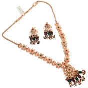 Zewar Women's Gemstone Ruby Manak Emerald Panna Pearl Latest Necklace Set White