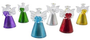 Set of 6 glass angel with heart, colourful in 6 colours 45cm