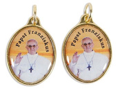 Tombak medal oval gold pendant chain for Pope Francis, image colourful 2.6 cm