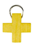 Wooden cross yellow, ring, pendant for smooth chain without body 2.2 x 2.2 cm