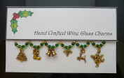 Gold Christmas Themed Set of 6 Wine Glass Charms Handmade Green- Snowman, Present, Snowflake, Sleigh, Star, Wreath