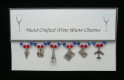 Travel Set of 6 Wine Glass Charms Handmade Blue Red