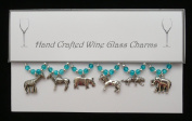 Safari Set of 6 Wine Glass Charms Handmade Aqua