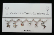 New Baby Set of 6 Wine Glass Charms Handmade White Pearl