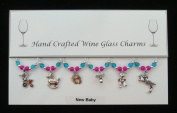 New Baby Set of 6 Wine Glass Charms Handmade Blue Pink