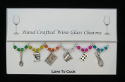 Love To Cook Set of 6 Wine Glass Charms Handmade Multi Colour
