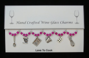 Love To Cook Set of 6 Wine Glass Charms Handmade Hot Pink