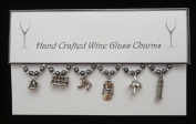 London Themed Wine Glass Charms Set of 6 Handmade Grey Pearl