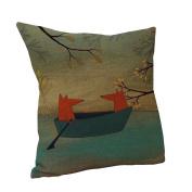 Amybria Cotton Linen Square Home Decor Cushion Cover Cartoon Fox Pillow Case Pattern B