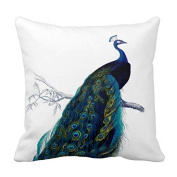 Aidoue Vintage Blue Elegant Colourful Peacock Pillowcase Decorate for a Sofa Pillow Cover Cushion 46cm