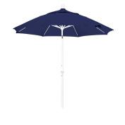 California Umbrella 2.7m Round Aluminium Pole Fibreglass Rib Market Umbrella, Crank Lift, Collar Tilt, White Pole, Sunbrella Navy