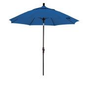 California Umbrella 2.7m Sunbrella Fabric Fibreglass Rib Crank Lift Collar Tilt Aluminium Market Umbrella with Black Pole, Pacific Blue