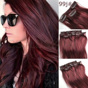 46cm 7pcs Straight Remy Clip in Real Human Hair Extension#99J red wine burgundy