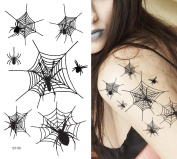 Supperb® Temporary Tattoos - Spiders and Spider Net Halloween Tattoos
