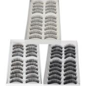 30 Pairs Black Long & Thick Reusable False Eyelashes Fake Eye Lash for Makeup Cosmetic - 3 Kinds of Style