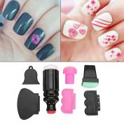 DancingNail 7pcs Silicone Nail Art Stamper And Scraper Set Manicure Polish Stamp Image Tool Kit