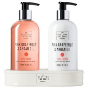 The Scottish Fine Soaps Company - Pink Grapefruit and Argan Oil Hand Wash and Lotion Duo in Ceramic Caddy
