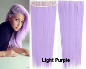 Beauty Wig World Women One Piece Long Straight Wavy Synthetic Thick Hair Extension Clip-on Hairpieces #Light Purple