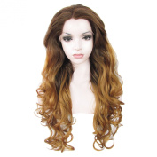 Lace Wig Long 70cm Wave Synthetic Lace Front Wig High Density Ombre Brown