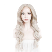 Lace Wig Long 60cm Wave Synthetic Lace Front Wig High Density Grey