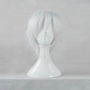 Tokyo Ghoul Kaneki Ken White Short Cosplay Costume Wig + Free Wig Cap
