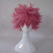 FAIRY TAIL Natsu Dragneel Pink Short Cosplay Costume Wig + Free Wig Cap