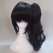 Bakemonogatari Karen Araragi Black Cosplay Costume Wig + 1 Ponytails