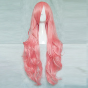 VOCALOID Megurine RuKa 80CM Long Light Pink Curly Cosplay Costume Wig + Free Wig Cap