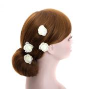 Small Ivory Rose Blossom Wedding Flower Hair Clips, Bridal Organza Flower Silver U Pins (B set