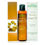 BEST Moroccan Argan Oil -100% Organic- Multi-Purpose Beauty Oil - Prevents Wrinkles & Stretch Marks. For Hair, Acne, Eczema, Skin, Nails, Scars- Non Greasy - Will Not Clog Pores - Phytosil 120ml