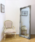 Abbey Large Full Length Shabby Chic Vintage Leaner Mirror Silver 80cm X 170cm
