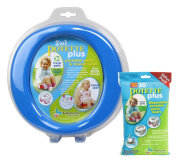 Kalencom 2 in 1 Potette Plus Portable Potty-Toilet Training Seat, Blue with 30 Potty Liners Set
