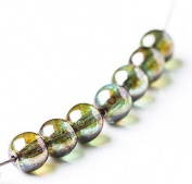 80 pcs Czech Round Glass Beads 6mm Green Silver Coating